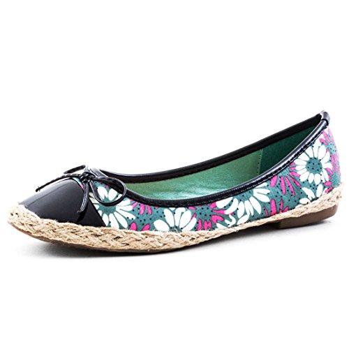 Damen Espadrilles Ballerinas Sommer Slipper Schuhe in Textil Blumen Muster & Bast Schwarz 38 Marimo 1xGYmpcX