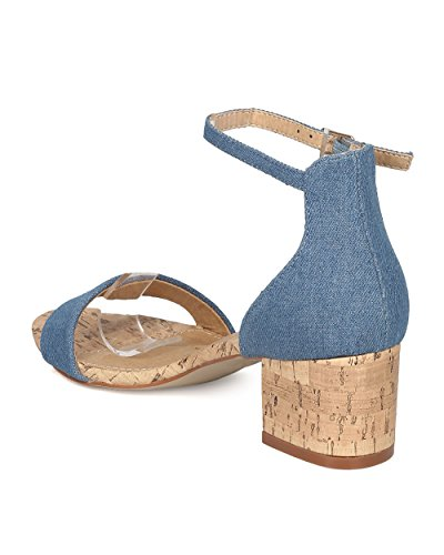 Sandal Blue Sandal Faux GI98 Fahrenheit Strap Low by Women Heel Cork Block Denim Sandal Ankle 8vwOp0qHw