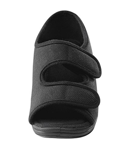 Womens Comfortable Indoor/Outdoor Sandals with Adjustable Fastener Straps - Black 12