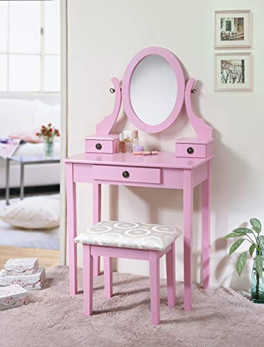 Roundhill Furniture 3415PI Moniys Moniya Pink Wood Makeup Vanity Table and Stool Set,