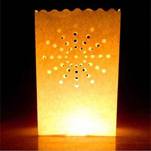 - White Luminary Bags - 20 Count - Sunburst Design - Wedding, Reception, Party and Event Decor - Flame Resistant Paper - Luminaria by Since (Sunburst)