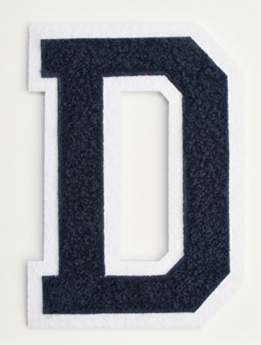 Varsity Letter Patches - Dark Navy Blue Embroidered Chenille Letterman Patch - 4 1/2 inch Iron-On Letter Initials (Navy Blue, Letter D Patch) - Navy Blue Chenille