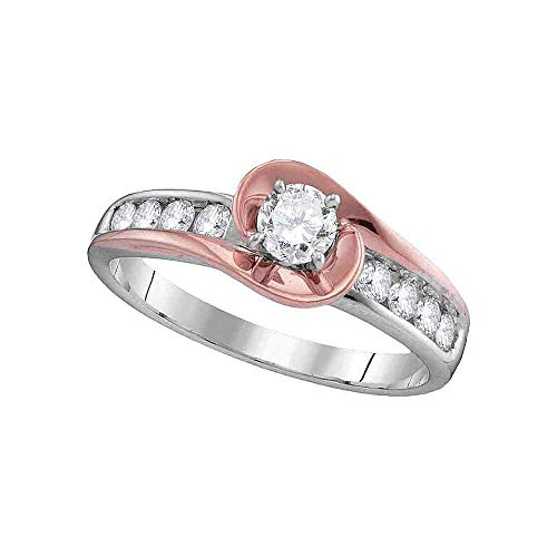 (Jewel Tie - Size 5.5 - Solid 14k White Gold Round Diamond Solitaire Rose-tone Swirl Bridal Engagement Ring Wedding Band Set 5/8 Cttw.)