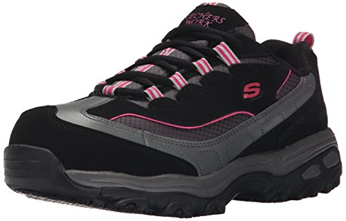 Skechers for Work Women's D'Lite SR Service Work Shoe,Black/Pink,9.5 M US