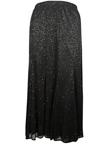 Onyx Nite Women's Glitter Specked Flare Skirt (XXL, Black/Gold)