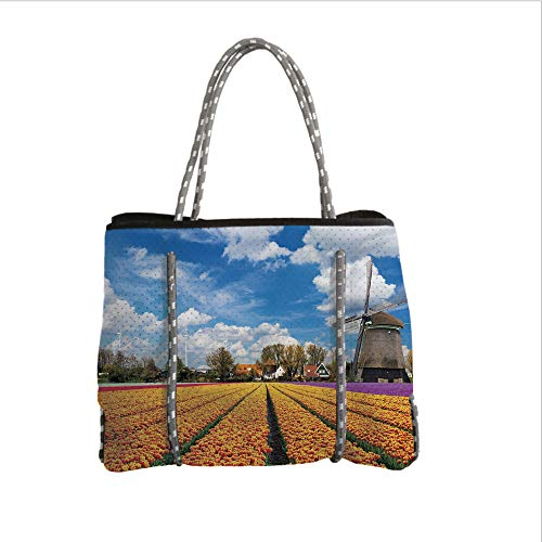 Neoprene Multipurpose Beach Bag Tote Bags,Windmill Decor,Tulips of Holland Countryside Landscape in Springtime with Rustic Houses Decorative,Multicolor,Women Casual Handbag Tote Bags