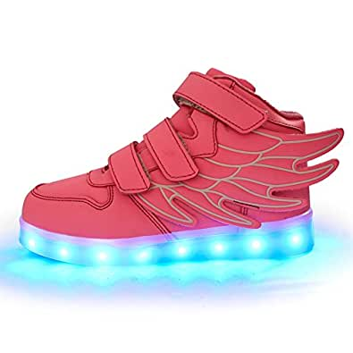 ANEMEL Wings Children's 7 Colors LED Shoes Flashing Rechargeable Sneakers Dance Shoes for Kids Toddler Rose Size: US Little Kids 1.5M/EUR 33