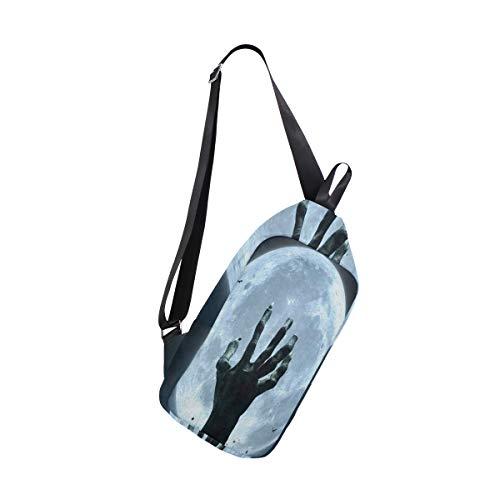 Sling Bag Halloween Zombie Hand Grave Full Moon Mens Chest Shoulder Backpacks Crossbody Multipurpose Daypack]()