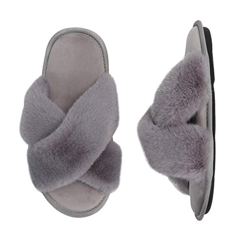 Women's Cross Band Slippers Memory Foam Soft Plush Indoor House Shoes for Girls