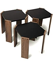 Hansel Nested Coffee Table Set of Three for Living Room Home Office Contemporary Stacking End Side Table Leisure Night Stand Telephone Table (Walnut-Black)
