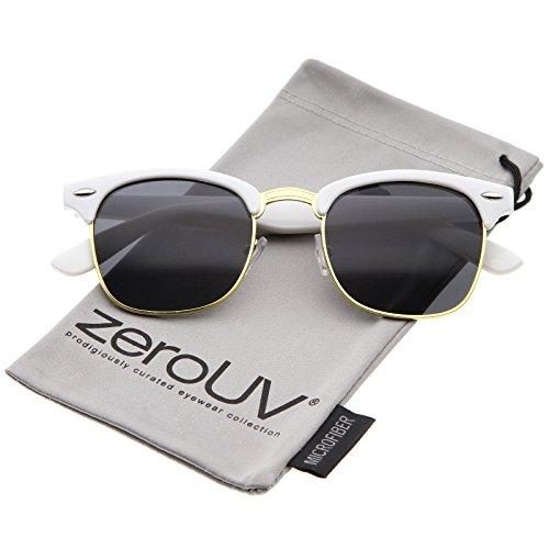 Premium Half Frame Metal Rivets Horn Rimmed Sunglasses 50mm