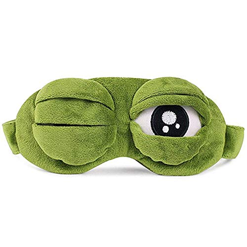 YouU 3D Cute Frog Sleep Eye Mask Green Cartoon Sad Frog Eye Mask Cover Sleeping Rest Travel Anime Funny ()