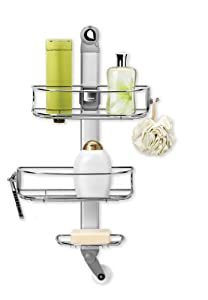 simplehuman adjustable shower caddy stainless steel and anodized aluminum