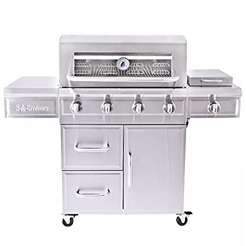 3 Embers 4-Burner Dual Fuel Propane Gas Grill with Radiant Embers Cooking System - 4 Burner Gas Grill