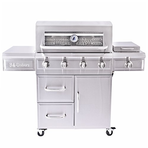 3 Embers 4-Burner Dual Fuel Propane Gas Grill with Radian...