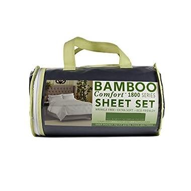 BAMBOO COMFORT - 1800 Series - Silky Smooth Lightweight Bed Sheet Set - Brushed Micro-Bamboo Fiber Blend - Deep Pocket - 4 Piece Set (KING, EGGPLANT PURPLE)