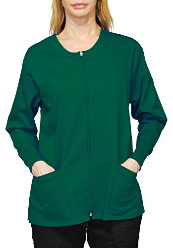 Hey Medical Uniforms Simply Smile Stretch Twill Zip-Front Warm-up Jacket (Plus Sizes - Hey Uniforms