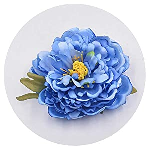1pcs Large Artificial Flowers Peony Fan Bingbing Same Paragraph Silk Costume Hairpin Headdress Hair Ornaments Decorative Flower,Blue 16