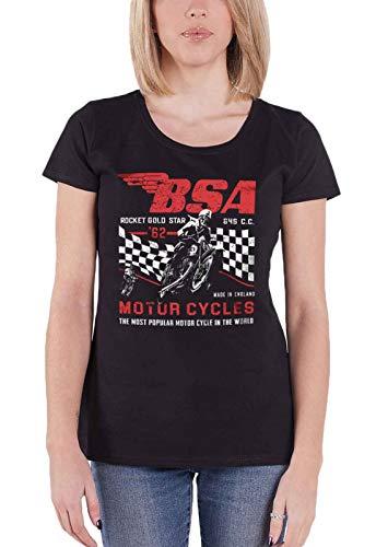 Official T Shirt BSA Motorbike Rocket Gold Star Official Womens Junior Fit Black Size XL ()