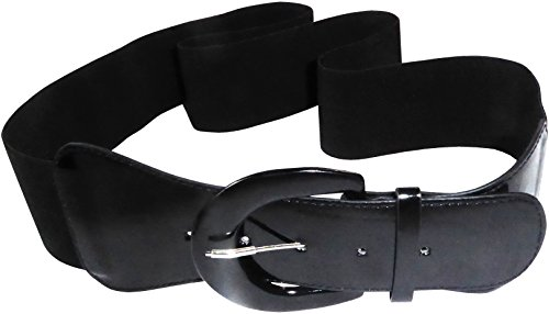 Funfash Plus Size Women Cinch Black Patent Leather Stretch Elastic Belt 3X (Stretch Patent Buckle Belt)