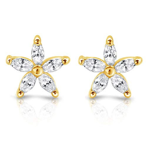 Silver Over Gold Stud (Flower Earrings - 18k Gold over Sterling Silver Cubic Zirconia Stud Earrings)