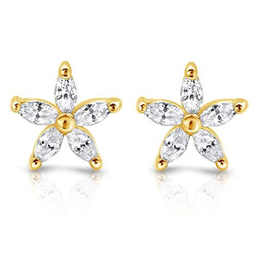 - Flower Earrings - 18k Gold over Sterling Silver Cubic Zirconia Stud Earrings