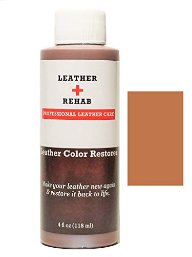 Leather Rehab Leather Color Restorer - Repair & Restore Faded, Worn and Scratched Leather & Vinyl Easily with No Kit - Furniture, Couch, Car Seat, Shoes, Jacket and Boots - 4 oz. Caramel (Medium Caramel Finish)