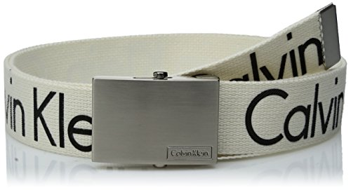 Calvin Klein Men's Calvin Klein 38mm Web Belt With Logo, White, L by Calvin Klein
