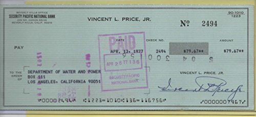 VINCENT PRICE SIGNED PERSONAL CHECK – #2494
