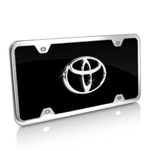 Black Acrylic License Plate (Toyota Logo Black Acrylic License Plate with Chrome Frame Kit)