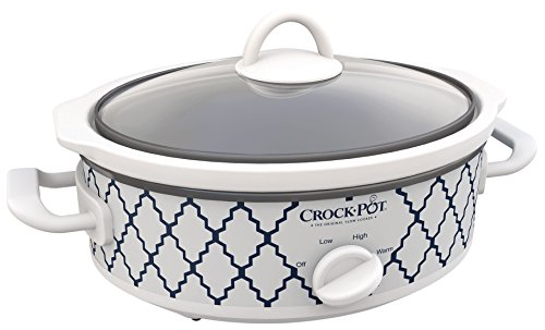 Cheap Crock-Pot Casserole Crock Mini Oval Slow Cooker, 2.5-Quart, Blue White/ Trellis