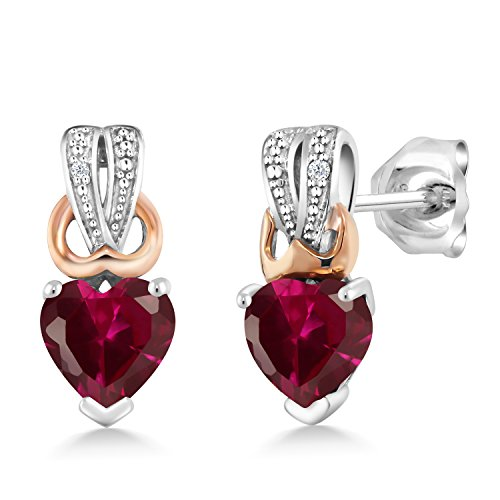 Gem Stone King 1.20 Ct Heart Shape Red Created Ruby Diamond Accent 925 Sterling with 10K Rose Gold Earrings