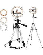 """PEYOU 10"""" Selfie Ring Light with 42'' Tripod Stand for Live Stream Makeup, LED Ring light for YouTube Video/Vlog/Photography, Circle Light w/Remote Shutter and Phone Holder Compatible for iPhone 12/11 Pro Max Xs Max XR X 8 7 6 Plus & Android Phone"""