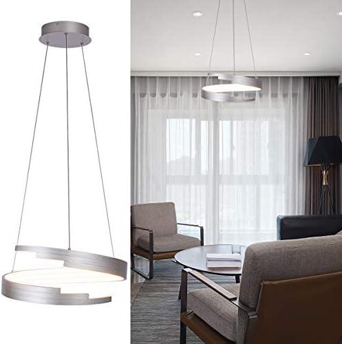 Modern Brushed Nickel Chandelier Led Spiral Ring Pendant Light Contemporary Adjustable Pendant Lighting