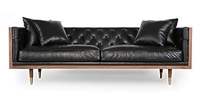 Kardiel Woodrow Neo Classic Midcentury Modern Sofa, Premium Aniline Leather