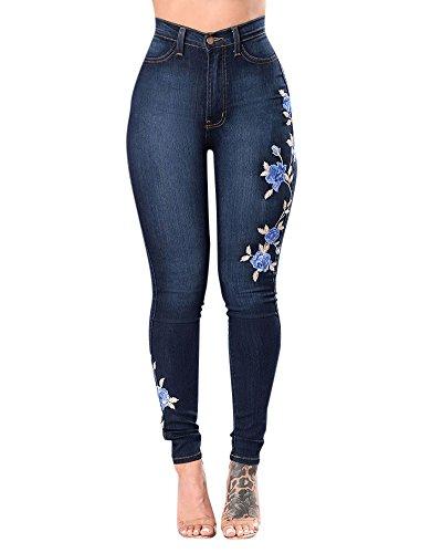 Flores De Bordado Denim Pantalones Vaqueros De Mujer Skinny Vaqueros Elasticos Azul Marino