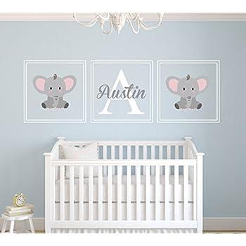 Elegant Custom Elephant Name Wall Decal   Nursery Wall Decals   Nursery Square Set  Wall Decor Vinyl Part 13