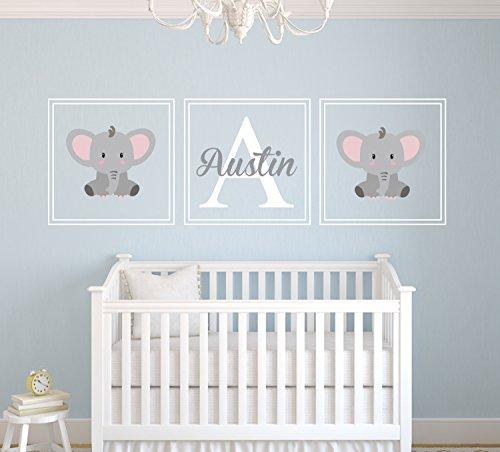 Custom Elephant Name Wall Decal - Nursery Wall Decals - Nursery Square Set Wall Decor Vinyl - Squares Nursery