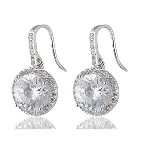 - Meyome Round Cubic Zirconia Hook Dangle Earrings Bridesmaid Earrings in White Gold Plated (Round teardrop-White)