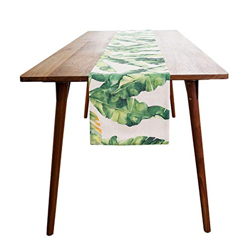 XPY-Table decoration Idyllic Tropical Plant Print,Imitation Linen Table Runners,Shoe Cabinet TV Cabinet bar,Cover Cloth,Table Cloth Fabric,30160cm