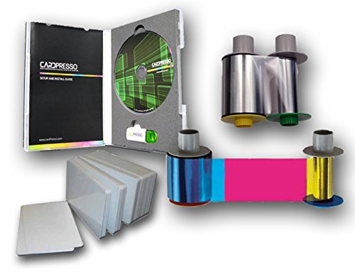 Fargo HDP5600 Supplies Kit: Color ribbon, Transfer film, PVC cards, and Design Software by Fargo