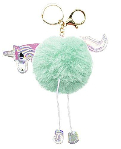 StylesILove Fabulous Plush Fluffy Unicorn Pom Pom Key Chain Bag Purse Charms Key Rings (Mint)