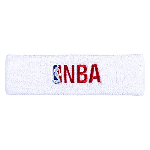 NBA Logo and Woodmark Headband White/Red by Socks and Accessory Brands