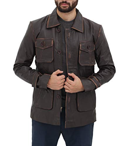 Four Pockets Lambskin Mens Leather Jacket - Distressed Brown Leather Coats for Men | M