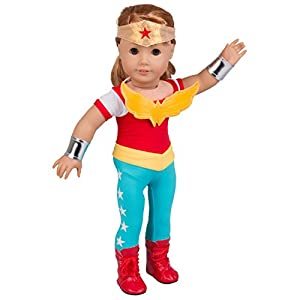 Wonder-Woman-Inspired-Doll-Outfit-5-Piece-Set-Super-Hero-Costume-Clothes-Accessories-for-American-Girl-18-Dolls