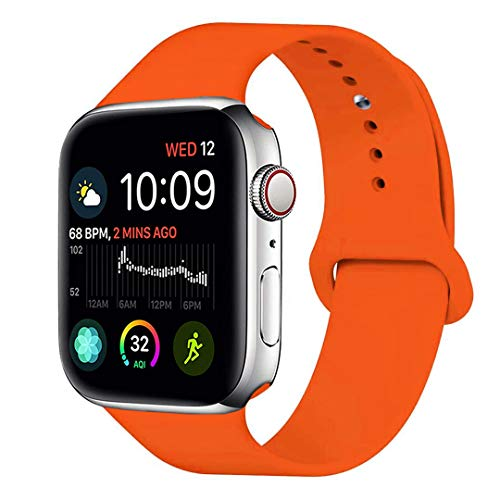 for Apple Watch Band 42mm 44mm, MOOLLY Soft Silicone iWatch Strap Replacement Sport Band for Apple Watch Band Series 4 Series 3 Series 2 Series 1 Sport & Edition (42mm 44mm M/L, Orange)