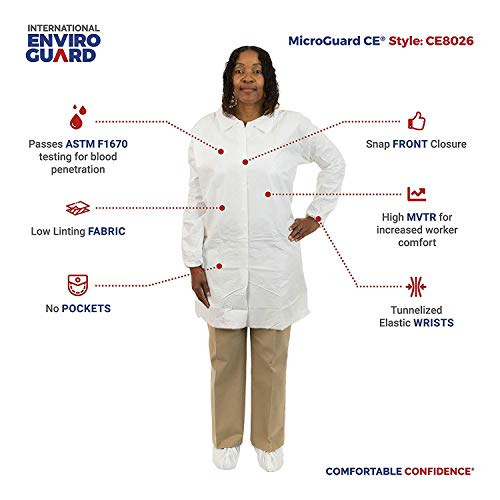 MicroGuard CE Individually Packaged Clean Processed Microporous Lab Coat with Tunnelized Elastic Wrist and No Pockets (XL, Case of 50) by Microguard CE (Image #3)