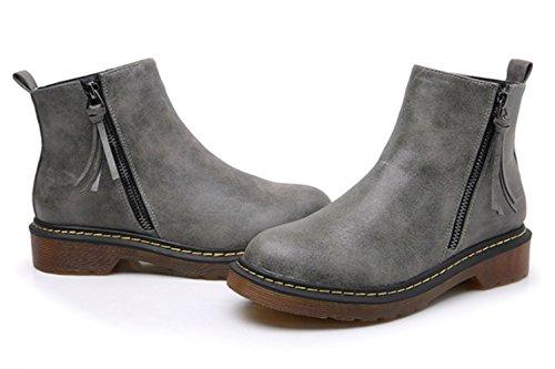 Grey Zipper Biker Ankle Style Women's DADAWEN Boots Side Vintage 8RwBzOqO