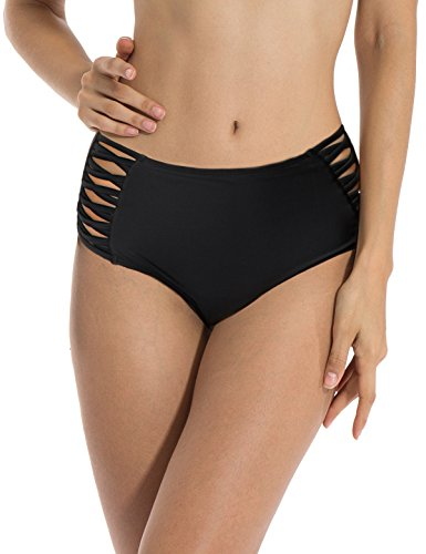 RELLECIGA Women's Black High Waisted Strappy Sides Bikini Bottom Size Large (Best Solution For Teenage Pregnancy)