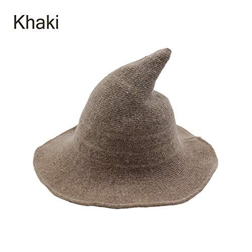 Goocheer Halloween Wool Witch Hat Wide Brim Foldable Pointed Cap Headwear Fancy Costume (22.4 inch, Khaki)